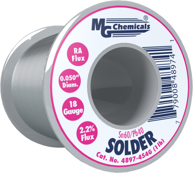 MG Chemicals 4897-454G, 454 gram (1.0 lb.) Roll of Sn60/Pb40, (18ga) .050'' Diameter Rosin Flux Core Solder