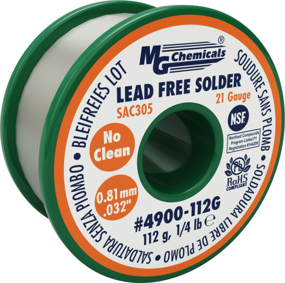 MG Chemicals 4900-112G, 112 gram (0.25 lb.) Roll of SAC305 Sn96, (21ga) .032'' Diameter Lead Free Rosin Flux Core Solder