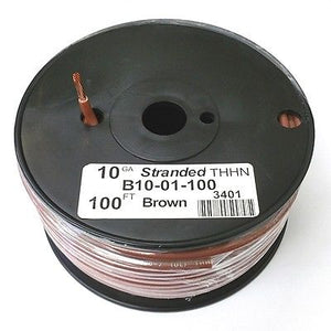 B10-01-100 ~ 10AWG BROWN THHN Stranded 600 Volt Gas & Oil Resist Wire 100' Roll - MarVac Electronics
