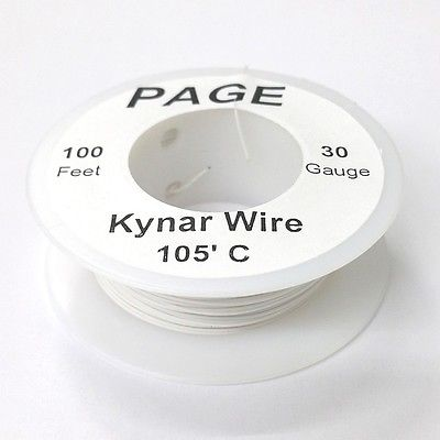 100' Page 30AWG WHITE KYNAR Insulated Wire Wrap Wire 100 Foot Roll ~ Made In USA - MarVac Electronics