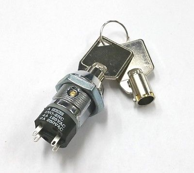 Philmore 30-10077B DPST, ON or OFF Position, Tubular Barrel Type Key Switch