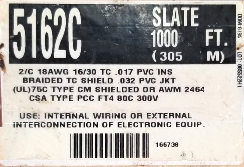 25' Alpha 5162C 2 Conductor 18 Gauge Stranded Braided Shield Cable ~ 2C 18AWG