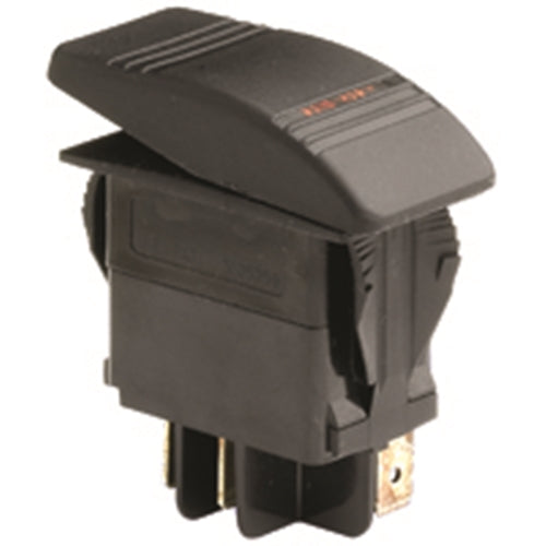 NTE 54-035 SPST ON-OFF 20A @ 12V DC Waterproof Automotive / Marine Rocker Switch ~ Red Lighted