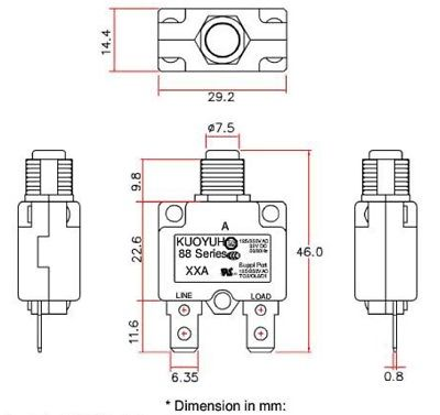 Kuoyuh 88 Series, 12 Amp Miniature Pushbutton Circuit