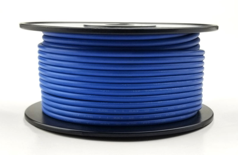 25' Roll 14AWG BLUE Stranded Appliance Grade 600 Volt Hook-Up Wire, UL1015 105C