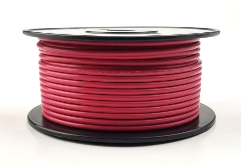 25' Roll 12AWG RED Stranded Appliance Grade 600 Volt Hook-Up Wire, UL1015 105C