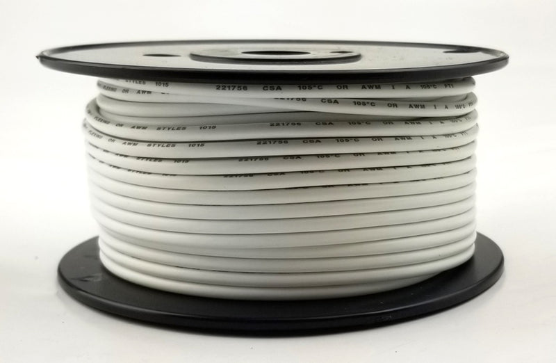 25' Roll 12AWG WHITE Stranded Appliance Grade 600 Volt Hook-Up Wire, UL1015 105C