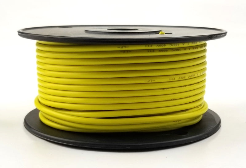25' Roll 14AWG YELLOW Stranded Appliance Grade 600 Volt Hook-Up Wire, UL1015 105C