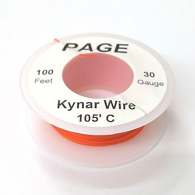 100' Page 30AWG ORANGE KYNAR Insulated Wire Wrap Wire 100 Foot Roll  Made In USA - MarVac Electronics
