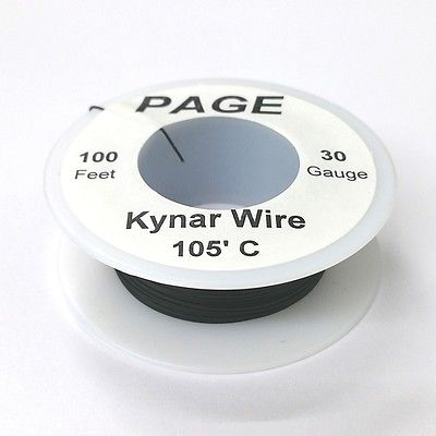 100' Page 30AWG BLACK KYNAR Insulated Wire Wrap Wire 100 Foot Roll ~ Made In USA - MarVac Electronics