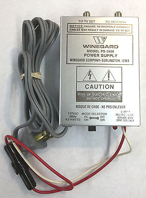 Winegard PS-3680 Power Supply AC117 VAC OR DC12VDC Input, Two 75 Ohm Outputs - MarVac Electronics