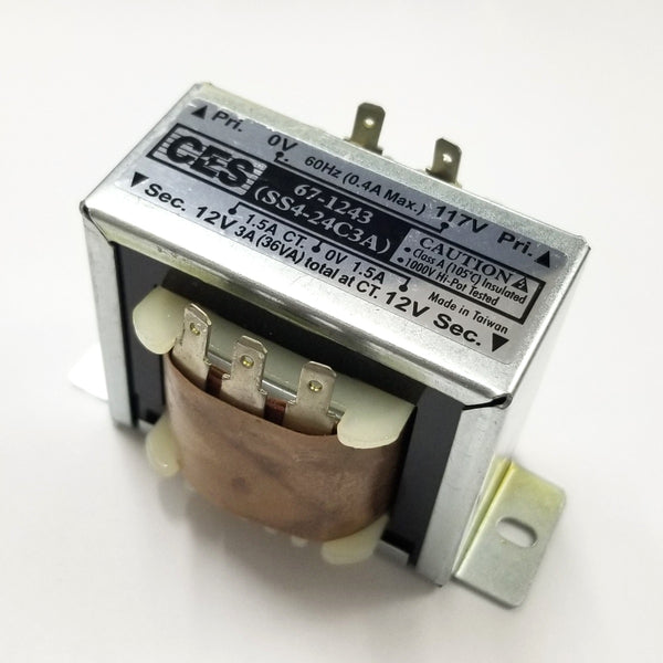 Center Tapped Power Transformer, 117V AC Input / 24V AC @ 3.0A Output