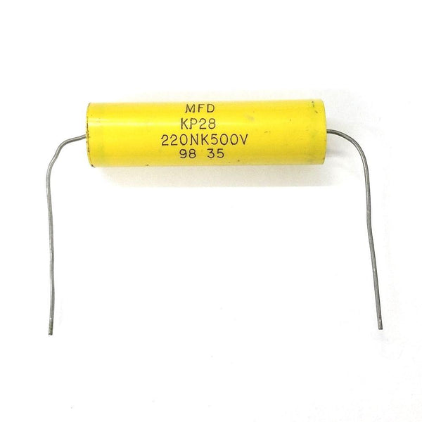 0.22uF (220nF), 500V Axial Lead Film Capacitor ~ KP28 220NK500V - MarVac Electronics