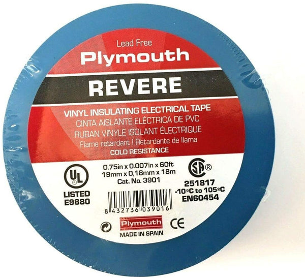 3901  3M1700 Revere BLUE .75 inch x 60 ft Plymouth Tape