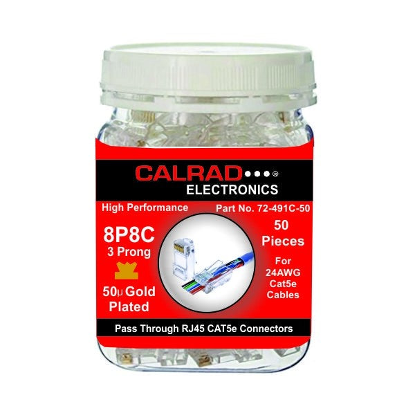 72-495C-50 CALRAD PASS THROUGH RJ45 CAT5E CONNECTORS 50 Pack