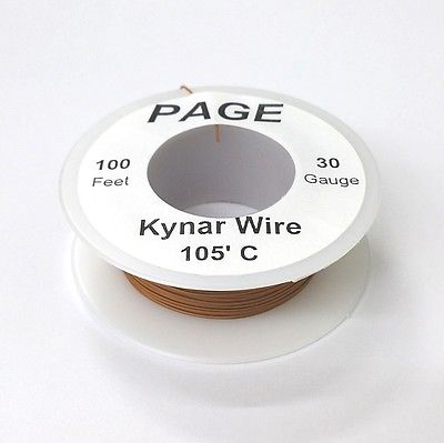 100' Page 30AWG BROWN KYNAR Insulated Wire Wrap Wire 100 Foot Roll ~ Made In USA - MarVac Electronics