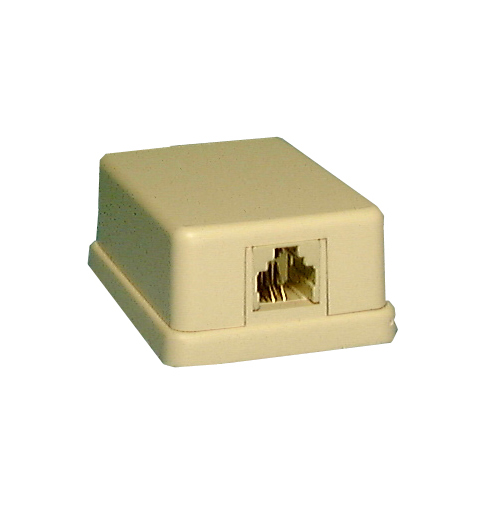 Philmore 75-266 4 Conductor RJ11 Female, Ivory Mini Surface Mount Modular Jack