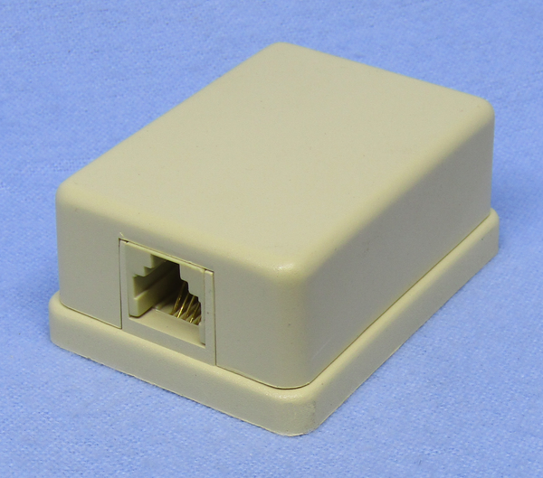 Philmore 75-6266 6 Conductor RJ11 Female, Ivory Mini Surface Mount Modular Jack