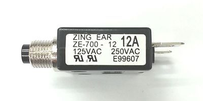 12 Amp Pushbutton Circuit Breaker ~ Zing Ear ZE-700-12 12A - MarVac Electronics