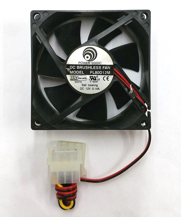 Power Logic PL80D12M 80mm x 25mm 12V DC Brushless Cooling Fan w/PC Connector