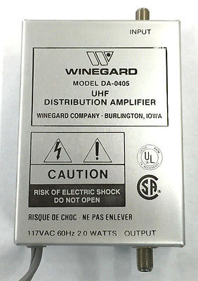 Winegard DA-0405 VHF Amplifier 21dB 54-216MHz, 470-890MHz 117Vac - MarVac Electronics