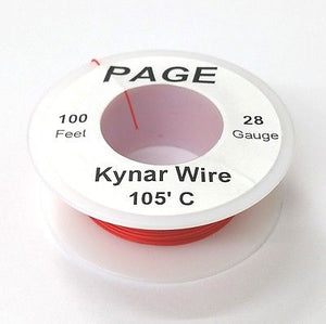 100' Page 30AWG RED KYNAR Insulated Wire Wrap Wire 100 Foot Roll ~ Made In USA - MarVac Electronics