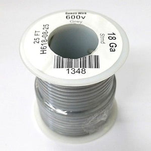 25' Roll 18AWG GREY Stranded Appliance Grade 600 Volt Hook-Up Wire, UL1015 105C - MarVac Electronics