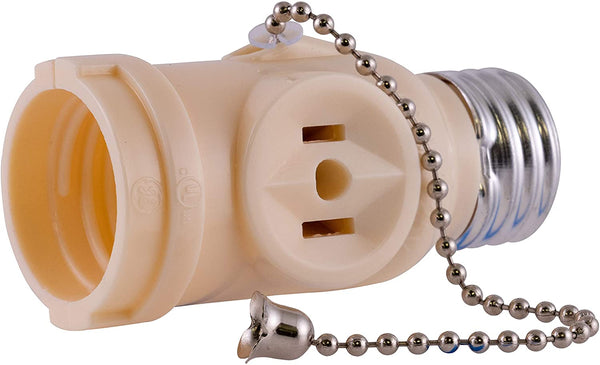 PS45 Light Socket with Pull Chain Switch and 2 AC Electrical Sockets