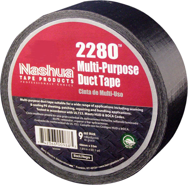 Nashua Tape 2280 Duct Tape, 48mm x 55m, 9 mil, Black