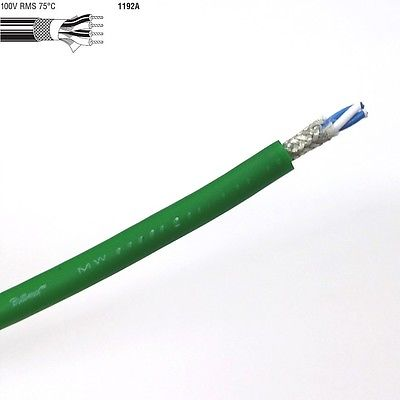 25' Length of GREEN Belden 1192A 4 Conductor 24AWG Star Quad Low Impedance Cable - MarVac Electronics