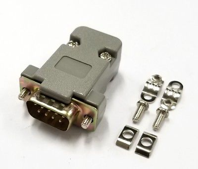 DB 9 Pin Male D-Sub Cable Mount Connector with Plastic Cover & Hardware DB9