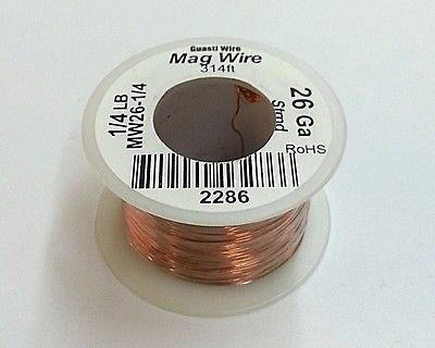 26 Gauge Insulated Magnet Wire, 1/4 Pound Roll (314' Approx. Length) 26AWG - MarVac Electronics