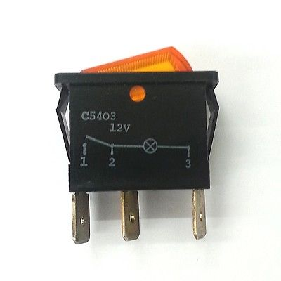 Arcolectric C5403ATBA7 SPST ON-OFF 12V Amber Lighted Rocker Switch 16A 250V AC - MarVac Electronics
