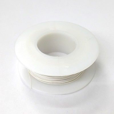 100' Page 28AWG WHITE KYNAR Insulated Wire Wrap Wire 100 Foot Roll ~ Made In USA - MarVac Electronics