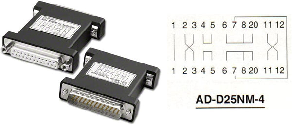 Pan Pacific AD-D25NM-4 DB25 No Handshake Null Modem Adapter