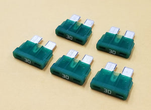30A 32V Bussmann ATC Type Automotive Blade Fuses, Lot of 5, Green