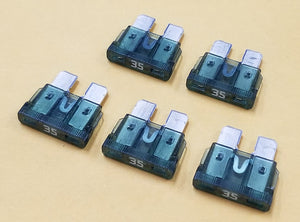 35A 32V Bussmann ATC Type Automotive Blade Fuses, Lot of 5, Blue-Green