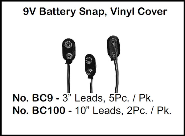 "Philmore BC9 9V Battery Snap, Vinyl Cover with 3 Inch (3"") Wire Leads - 5 Pack"