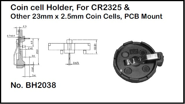 Philmore BH2038 Coin Cell Battery Holder for CR2325 & other 23.0mm x 2.5mm Coin Cells, PC Board Mounting