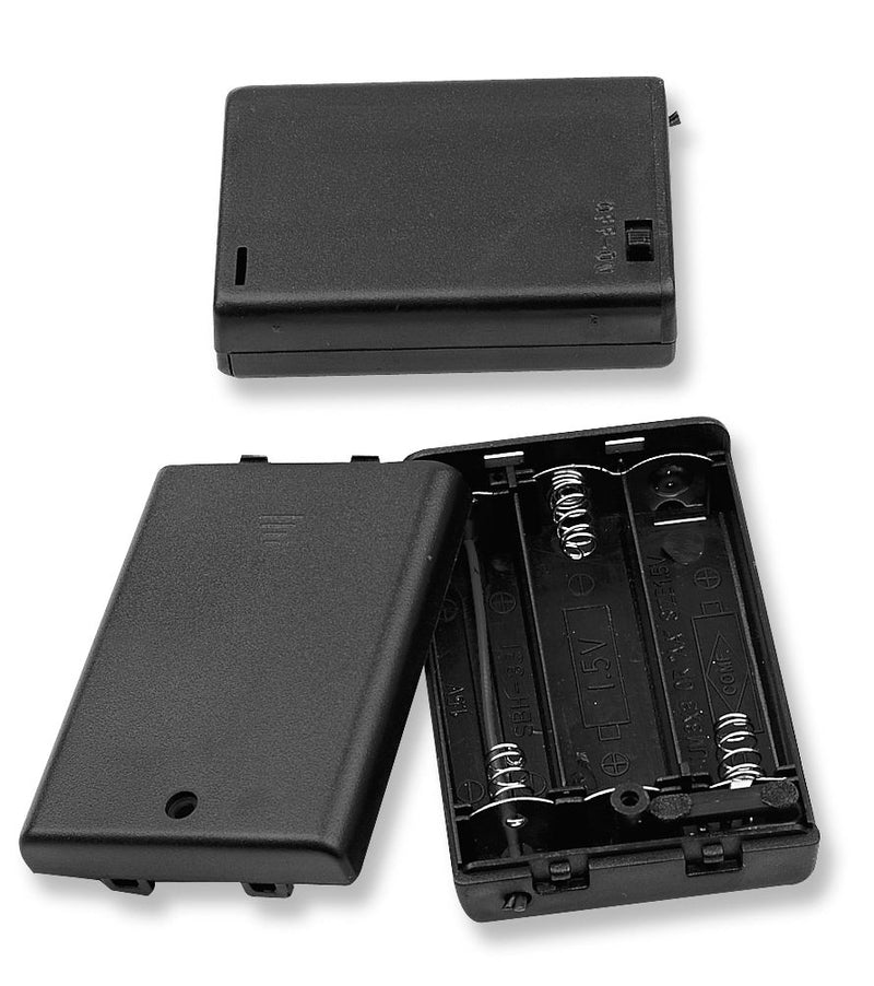 "Philmore BH3311 Three (3) AA Cell (UM-3) Plastic Battery Holder w/ Cover, Switch & 6"" Wire Leads"