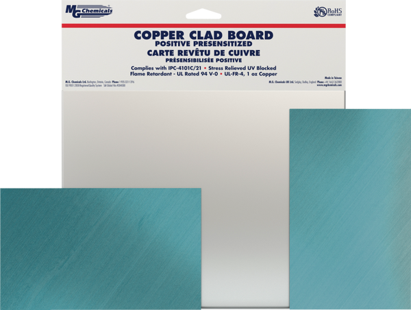 "MG Chemicals # 698 Positive Presensitized Double Sided Copper Clad Board, 1/64"" x 6"" x 9"""