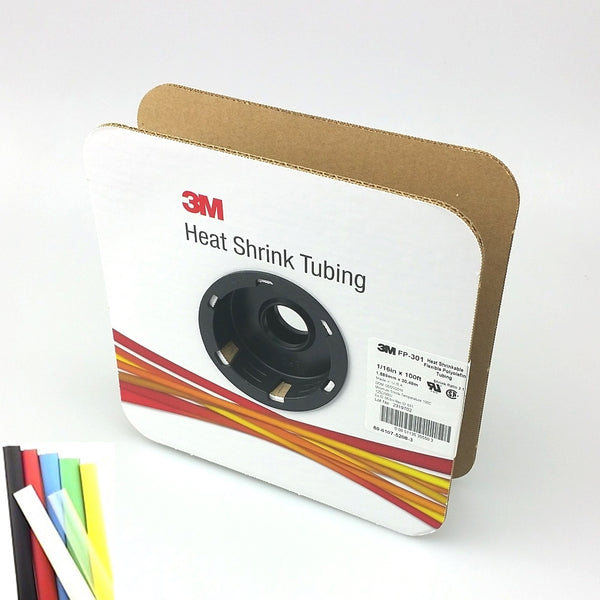 "100 Foot Roll of 1/16"" Black 2:1 Heat Shrink ~ 3M FP301 - MarVac Electronics"