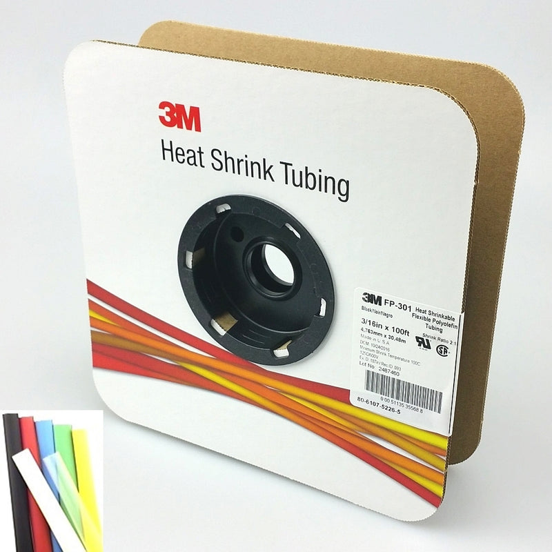 "100 Foot Roll of 3/16"" Black 2:1 Heat Shrink ~ 3M FP301"