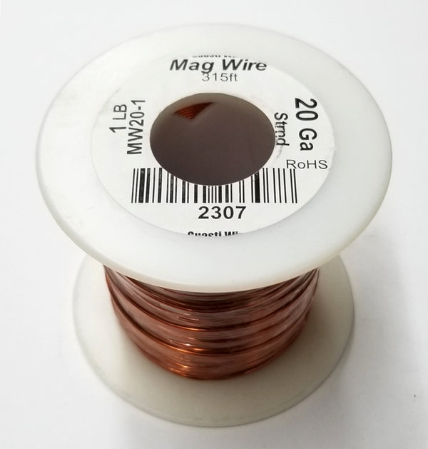 20 Gauge Insulated Magnet Wire, 1 Pound Roll (315' Approx. Length) 20AWG