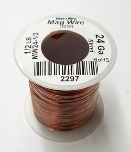 24 Gauge Insulated Magnet Wire, 1/2 Pound Roll (395' Approx. Length) 24AWG