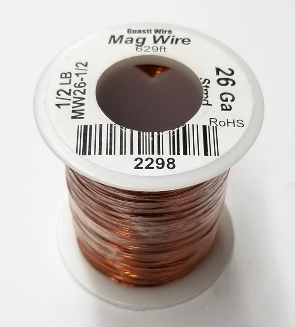 26 Gauge Insulated Magnet Wire, 1/2 Pound Roll (629' Approx. Length) 26AWG