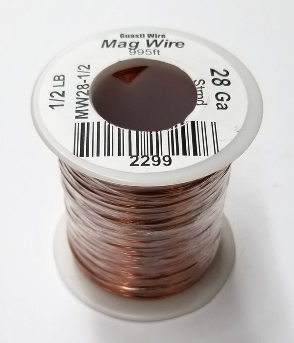 28 Gauge Insulated Magnet Wire, 1/2 Pound Roll (995' Approx. Length) 28AWG