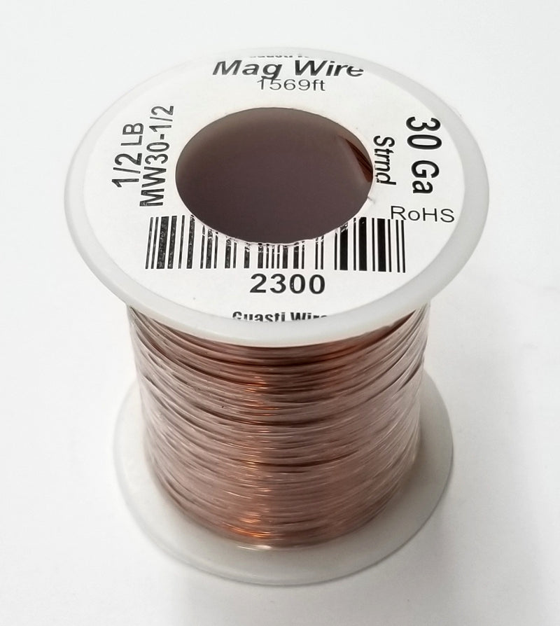 30 Gauge Insulated Magnet Wire, 1/2 Pound Roll (1,569' Approx. Length) 30AWG