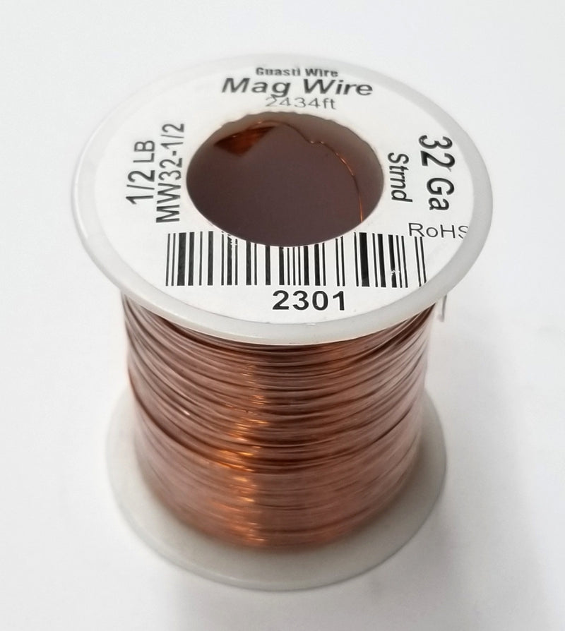 32 Gauge Insulated Magnet Wire, 1/2 Pound Roll (2,434' Approx. Length) 32AWG