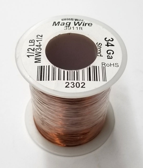 34 Gauge Insulated Magnet Wire, 1/2 Pound Roll (3,911' Approx. Length) 34AWG